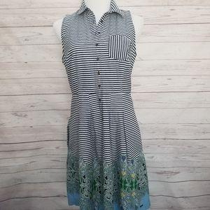 Tommy Hilfiger Sleeveless Striped  Paisley Dress